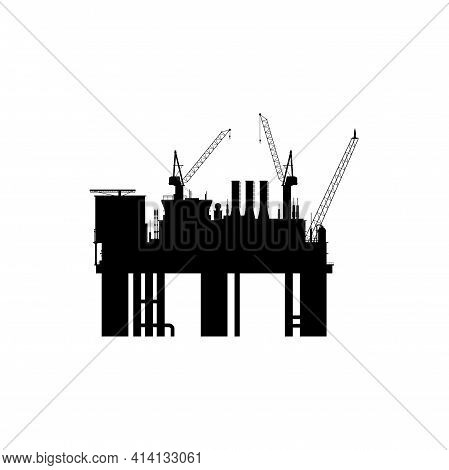 Oil And Gas Derrick Sea Platform Vector Icon. Industrial Petroleum Refinery Factory Black Silhouette