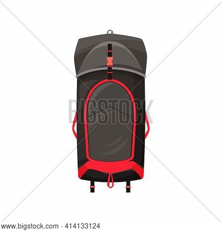 Backpack Vector Icon, Camping Or Hiking Rucksack, Cartoon Touristic Knapsack Equipment Of Black And