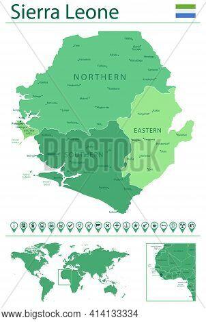 Sierra Leone Detailed Map And Flag. Sierra Leone On World Map.