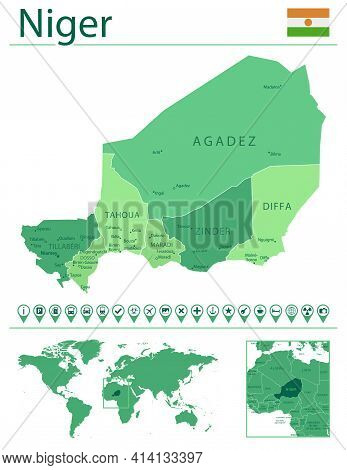 Niger Detailed Map And Flag. Niger On World Map.