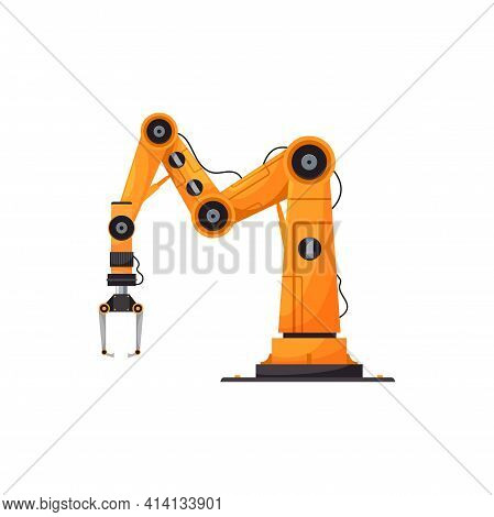 Yellow Robotic Arm Industrial Machinery Equipment Isolated Grabbing Manufacturing Tool Realistic Ico