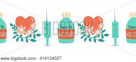 Vaccinate Seamless Vector Border. Repeating Horizontal Pattern Covid Vaccination Dose Bottle Syringe