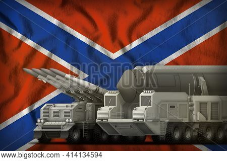 Rocket Forces On The Novorossiya Flag Background. Novorossiya Rocket Forces Concept. 3d Illustration