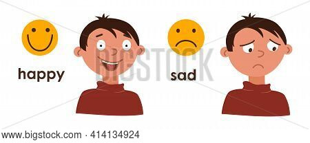Young Boy With Good And Bad Mood. Change In Emotions, Joy, Sadness. Two Cartoon Characters With Diff