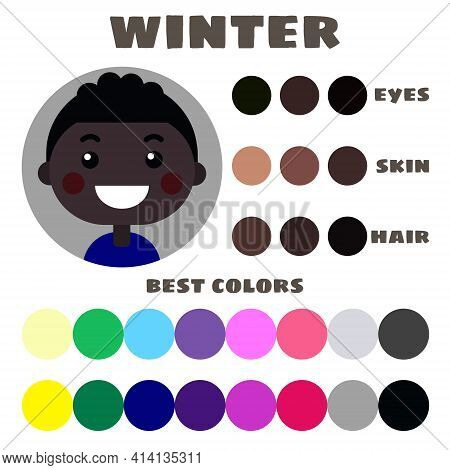 Stock Vector Color Guide. Eyes, Skin, Hair Color. Seasonal Color Analysis Palette With Best Colors F