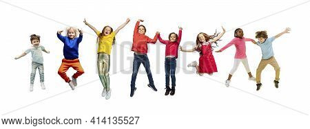 Little And Happy Kids Gesturing Isolated On White Studio Background. Human Emotions, Facial Expressi