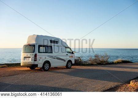 Exmouth, Western Australia - July 7, 2018: Toyota Hiace Lwb Van From Apollo And Talvor Motorhomes Co