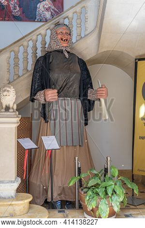 Manacor, Spain; March 18 2021: Figure Of The Jaia Corema At The Entrance Of The Town Hall Of Manacor