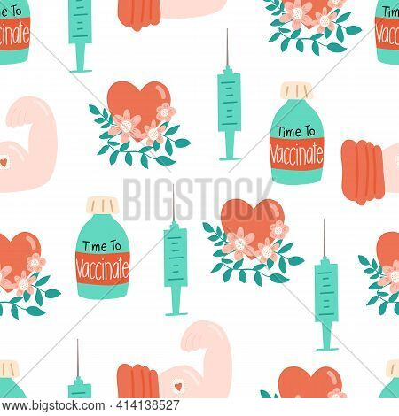 Vaccination Seamless Vector Pattern. Vaccine Bottle Syringe Floral Heart Repeating Background. Coron