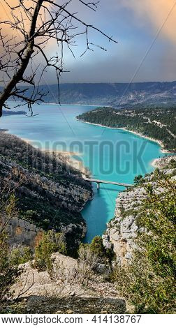 View on Guadalest water reservoir with turquoise water in Alicante province Spain