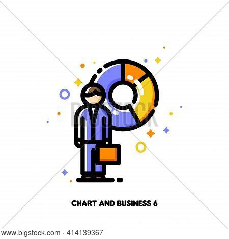 Icon Of Businessman With Briefcase On A Background Of Chart For Financial Statement Or Trade Report