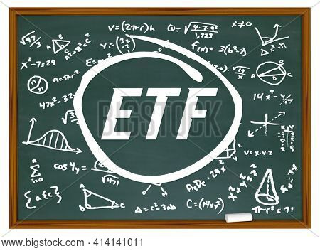 ETF Exchange Traded Fund Learn How to Trade Chalkboard Formula 3d Illustration