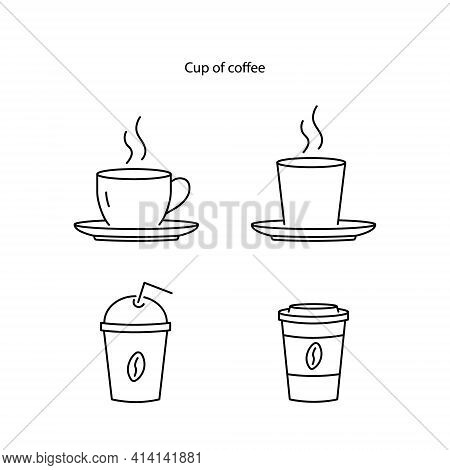 Cup Icon Isolated On White Background From. Cup Icon Thin Line Outline Linear Cup Symbol For Logo, W