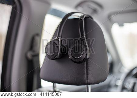 Moscow, Russia - February 2, 2020: The Original Headphone System Multimedia Rear Passenger Headrest