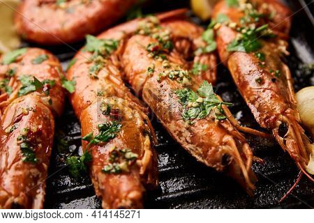 Grilled Large Shrimps With Lemon And On The Grill Pan