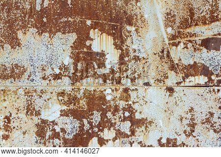 White Corroded Metal Background. Rusty And Scratched Painted Metal Wall. Rusty Metal Background With