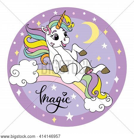 Cute Cartoon Unicorn Rolling Down The Rainbow. Vector Illustration Circle Shape On Purple Background
