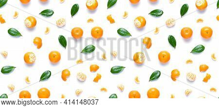 Isolated Mandarin Pieces On White Background. Tangerine Orange Seamless Pattern. Flat Lay Of Whole A