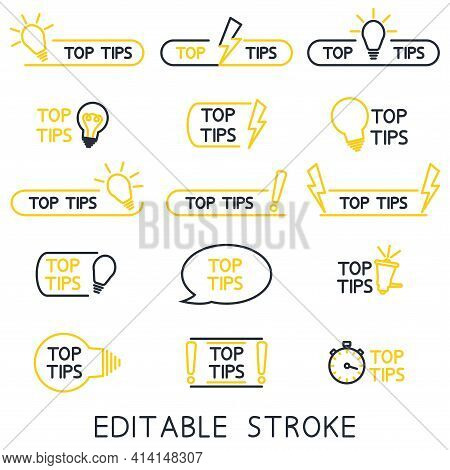 Top Tips, Helpful Tricks, Tooltip, Hint For Website. Set Of Tricks Top Tip Solution, Helpful Advice