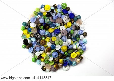 Colorful Bright Buttons On A White Background. Old Vintage Buttons Close-up. Copy Space. Top View. B