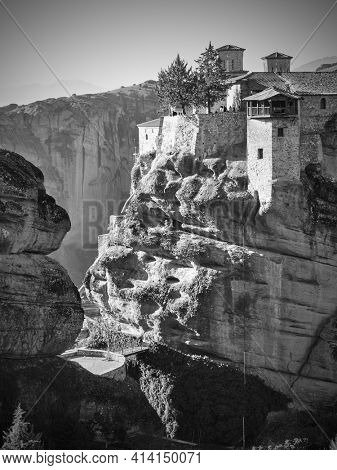 Meteora in Greece. The Monastery of Varlaam on the cliff. Black and white photography, greek landscape