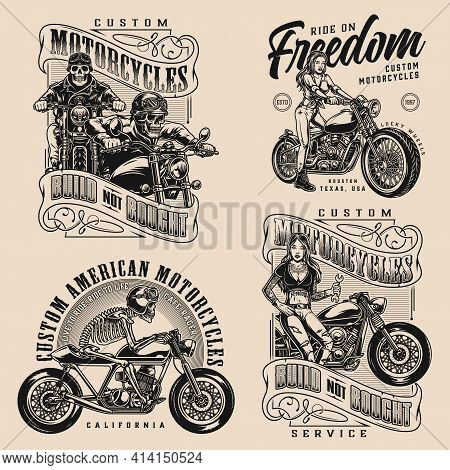 Motorcycle Vintage Designs Composition With Beautiful Biker Girls Skeleton Moto Riders And Motorbike