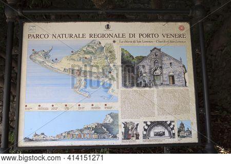 Portovenere ( Sp ), Italy - April 15, 2017: Church Of San Lorenzo Sign, Portovenere, Gulf Of Poets,