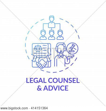 Legal Counsel And Advice Concept Icon. Legal Services Categories. Provides Timely Legal Protection A