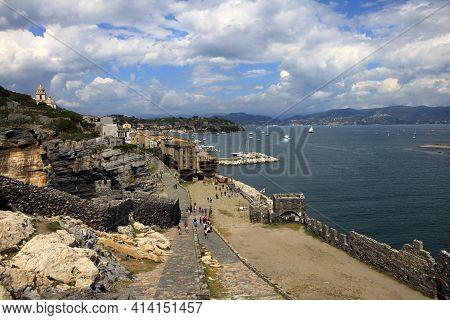Portovenere (sp), Italy - April 15, 2017: Wiew Of Portovenere, Gulf Of Poets, Cinque Terre, La Spezi