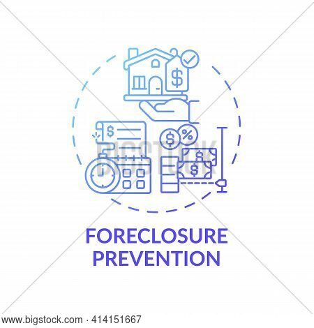 Foreclosure Prevention Concept Icon. Legal Services Types. Help Homeowners Who Are In Danger Situati
