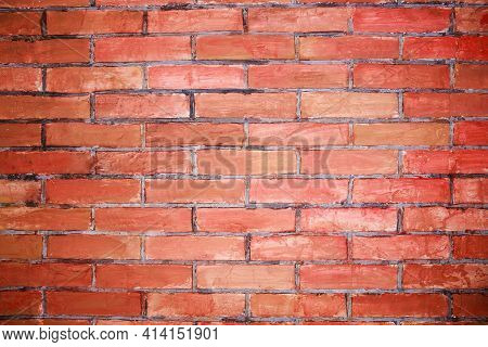 Hand Made Brick Wall Made From Narrow Bricks, Abstract Background Texture With Old Dirty And Vintage