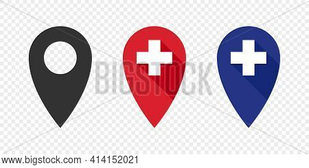 Pointer Icons. Pointer Of Vaccine. Vaccination Station. Vaccination Concept. Vector Illustration