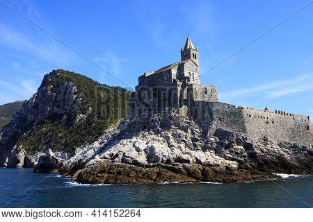 Portovenere ( Sp ), Italy - April 15, 2017: San Pietro Church In Portovenere, Gulf Of Poets, Cinque