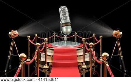 Podium With Retro Microphone, 3d Rendering Isolated On Black Background
