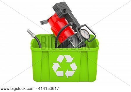 Recycling Trashcan With Car Air Compressor, 3d Rendering Isolated On White Background