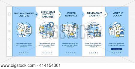 Choosing General Practitioner Doctor Tips Onboarding Vector Template. Responsive Mobile Website With