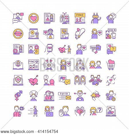Online Dating Rgb Color Icons Set. Broken Heart, Fraud. Building Relationship In Virtual Reality. Si