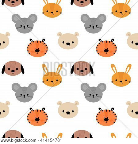 Childish Seamless Pattern With Cute Smiley Animals. Creative Baby Texture For Fabric, Nursery, Texti