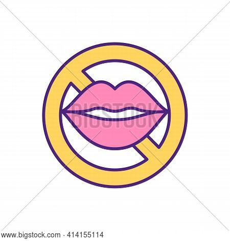 No Kisses Stop Sign Rgb Color Icon. Kissing Is Not Allowed. Lips Crossed Prohibition Symbol. Female