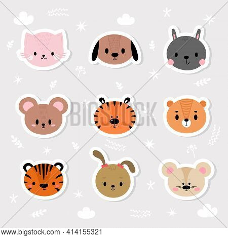Set Of Cartoon Stickers With Animals For Kids. Cute Hand Drawn Characters. Sweet Smiley Faces