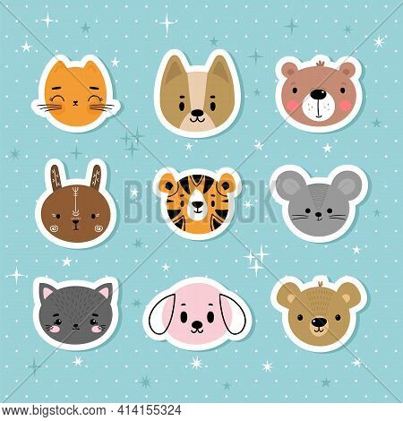 Set Of Cartoon Stickers With Animals For Kids. Sweet Smiley Faces. Cute Hand Drawn Characters On Blu