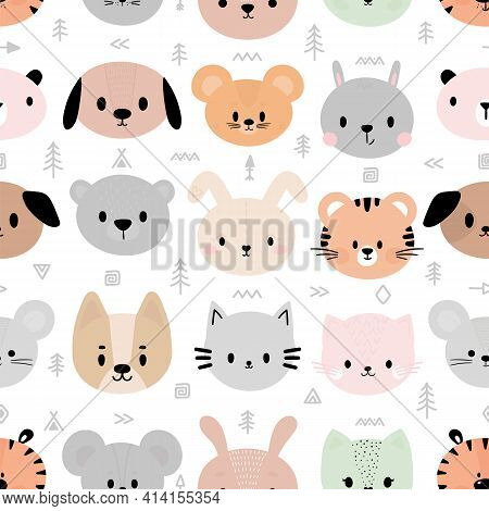 Tribal Seamless Pattern With Cute Smiley Animal Faces. Creative Background For Fabric, Nursery, Text