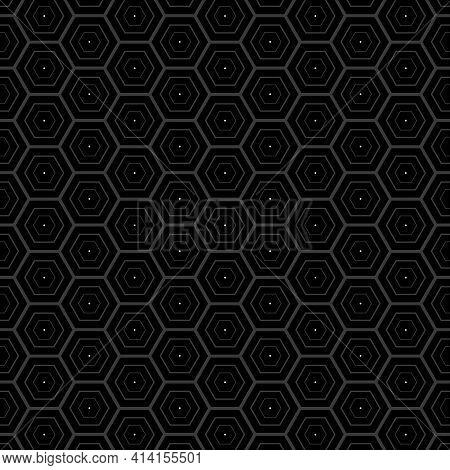 Dark Hexagon Stroke Shapes Pattern. Hexagon Abstract Background. Vector Illustration