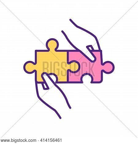 Perfect Match Of Two Puzzles Rgb Color Icon. Two Colours Element Ideal Connection. Yellow And Pink G