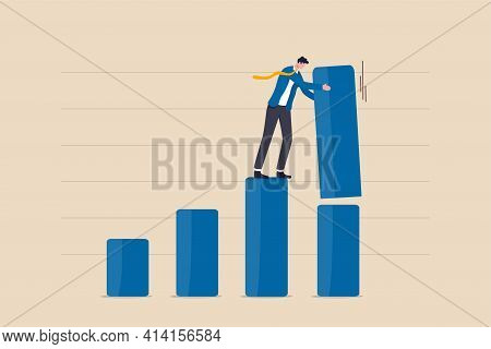 Increase Investment Profit, Gdp Rising Up Or Growing Business Performance Concept, Success Businessm