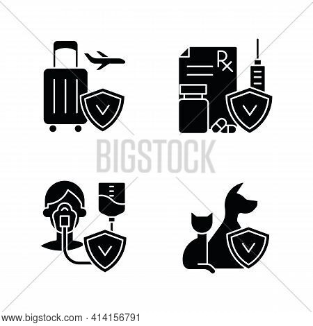 Insurance And Protection Black Glyph Icons Set On White Space. Reimbursement For Traveling Expenses.