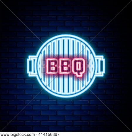 Glowing Neon Line Barbecue Grill Icon Isolated On Brick Wall Background. Top View Of Bbq Grill. Stee