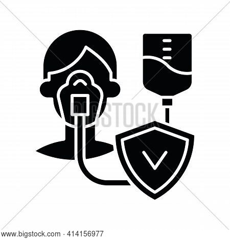 Critical Illness Insurance Black Glyph Icon. Covering Health Conditions. Medical Emergencies Costs.