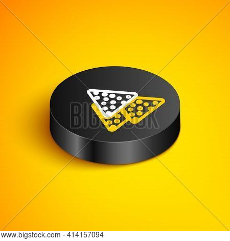 Isometric Line Nachos Icon Isolated On Yellow Background. Tortilla Chips Or Nachos Tortillas. Tradit