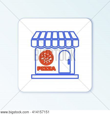 Line Pizzeria Building Facade Icon Isolated On White Background. Fast Food Pizzeria Kiosk. Colorful